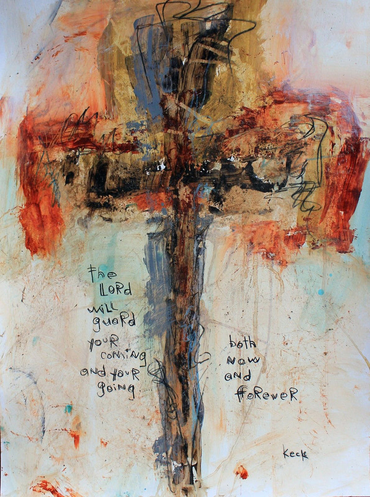 Original cross art painting by michel keck for Cross paintings on canvas