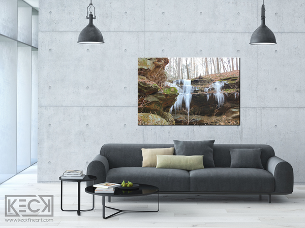 winter waterfall art print