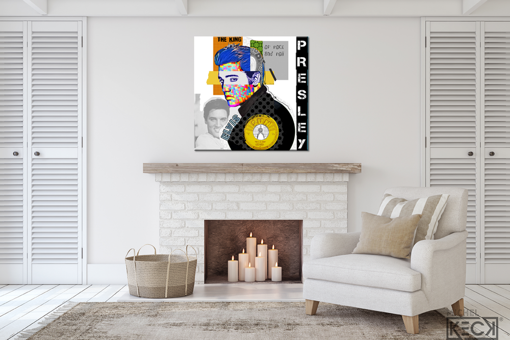 Colorful Abstract Elvis Presley Mixed Media Collage Art Print