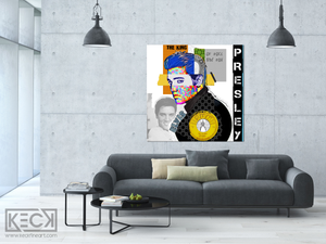 ELVIS PRESLEY ARTWORK : Modern Art Collage Of Elvis Presley by Michel Keck