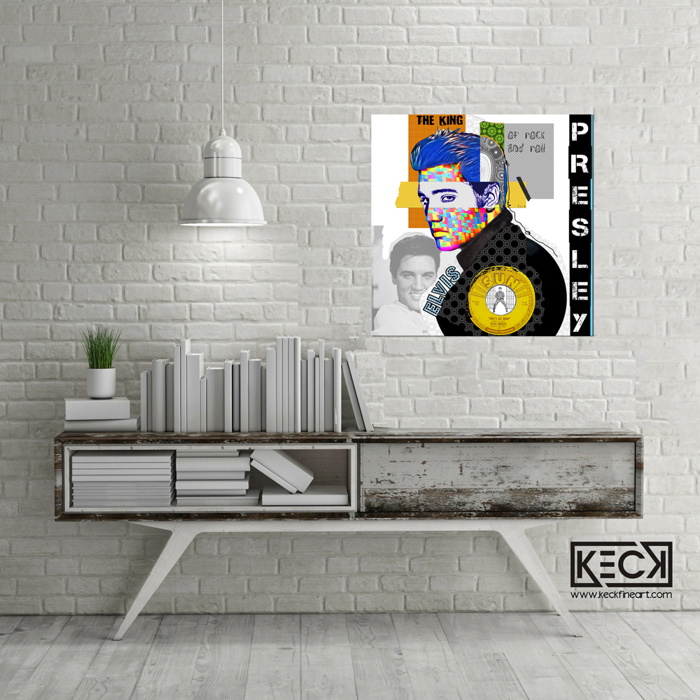 Elvis Presley Collage - Mixed Media Elvis Presley Canvas Art Print