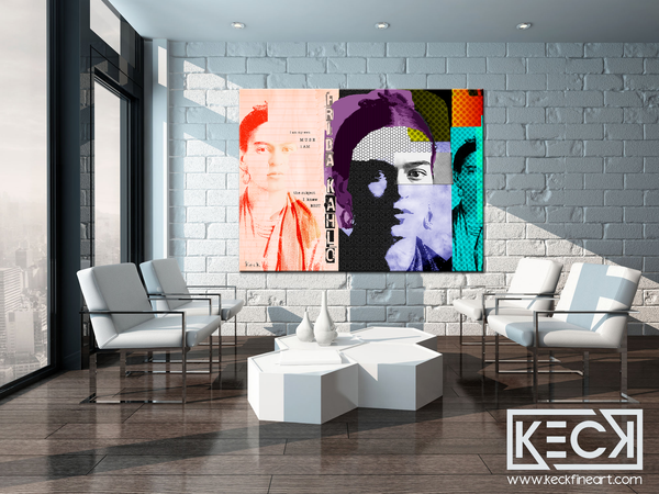 Art Print of Frida Kahlo.  Frida Kahlo abstract collage portrait.  Modern art pop art Frida Kahlo Collage