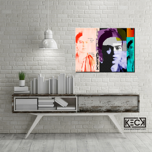 Frida Kahlo Abstract Collage Art Print.  Michel Keck pop art abstract collage portrait of artist Frida Kahlo