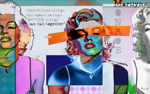 Load image into Gallery viewer, MARILYN MONROE ART PRINTS:  Modern art prints of Marilyn Monroe. Pop art prints of Marilyn Monroe.  Abstract collage art print of Marilyn Monroe.  Large marilyn monroe art prints on canvas.