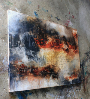 Religious abstract art painting with bible verse painted into the art