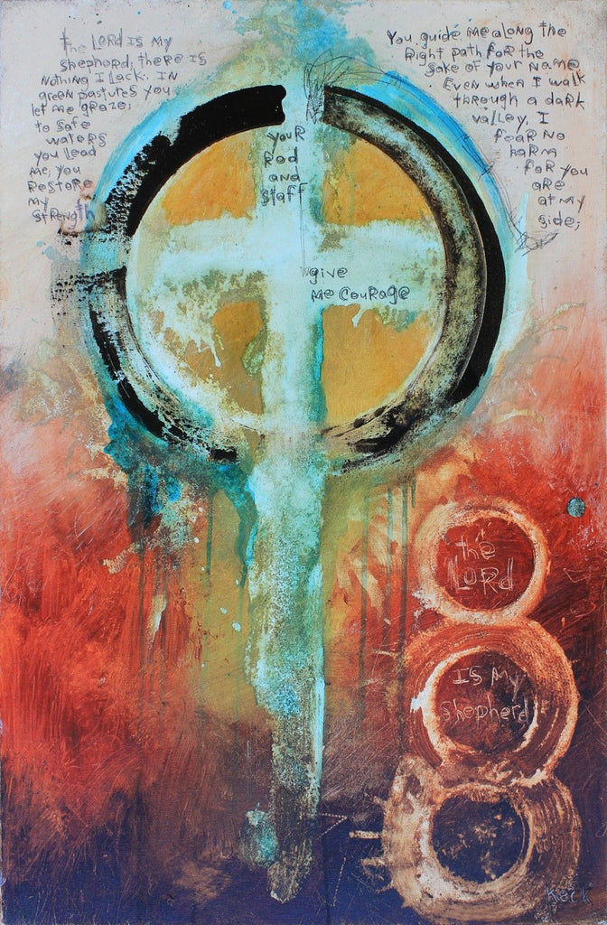 Original ABSTRACT CROSS ART PAINTING #061626
