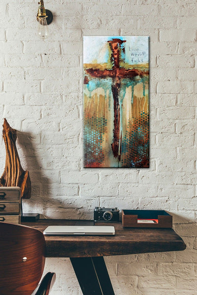 Original LOVE NEVER FAILS CROSS ART PAINTING #061617