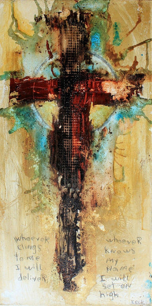 Original PSALM 91: 14 CROSS ART PAINTING #061631