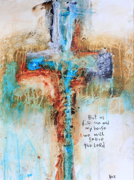 #071605 <br> Joshua 24:15 <br> Original Cross Painting on Paper