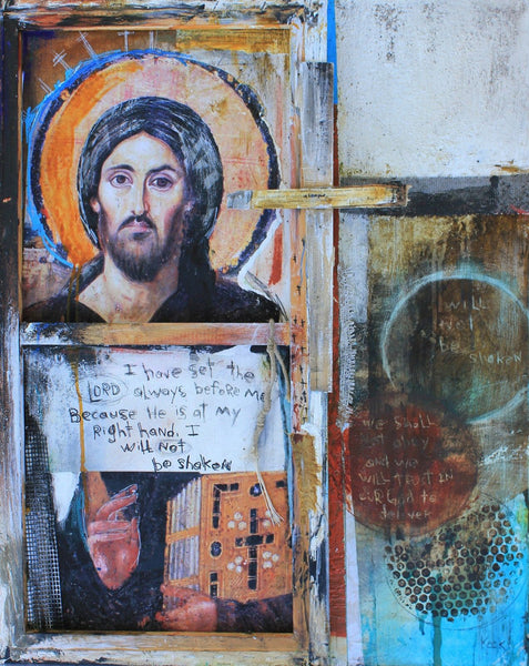 Original Mixed Media Art on Canvas: Psalm 16:8 #061622