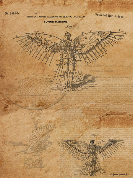 VINTAGE PATENT DRAWING of Flying Machine Steampunk Icarus Paper Print