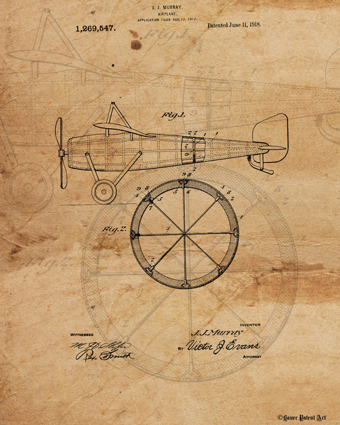 VINTAGE PATENT DRAWING of Airplane Canvas Print