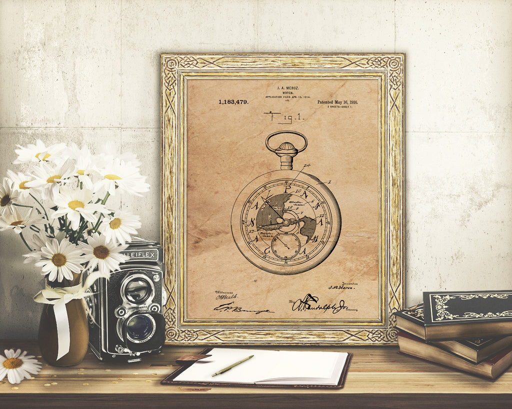 VINTAGE PATENT DRAWING of Pocketwatch Paper Print