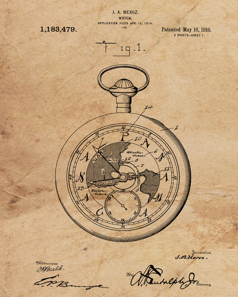 VINTAGE PATENT DRAWING of Pocketwatch Canvas Print