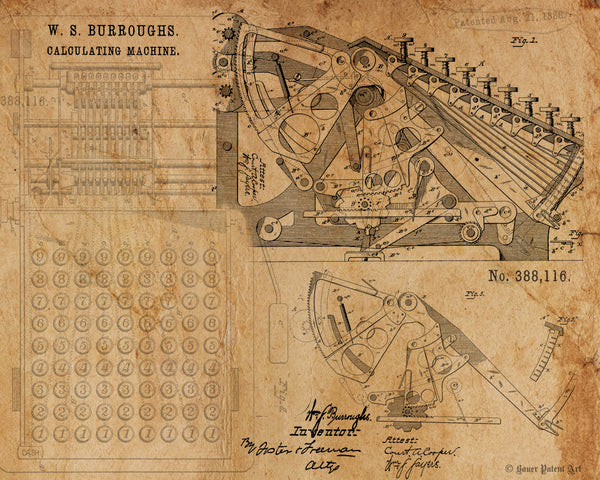 VINTAGE PATENT DRAWING of Calculating Machine Canvas Print