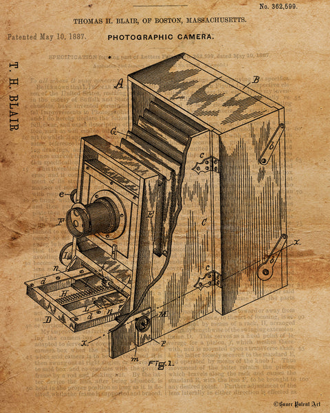 VINTAGE PATENT DRAWING of Old Camera Paper Print