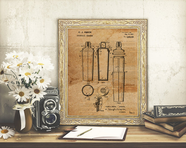 VINTAGE PATENT DRAWING of Cocktail Shaker Paper Print