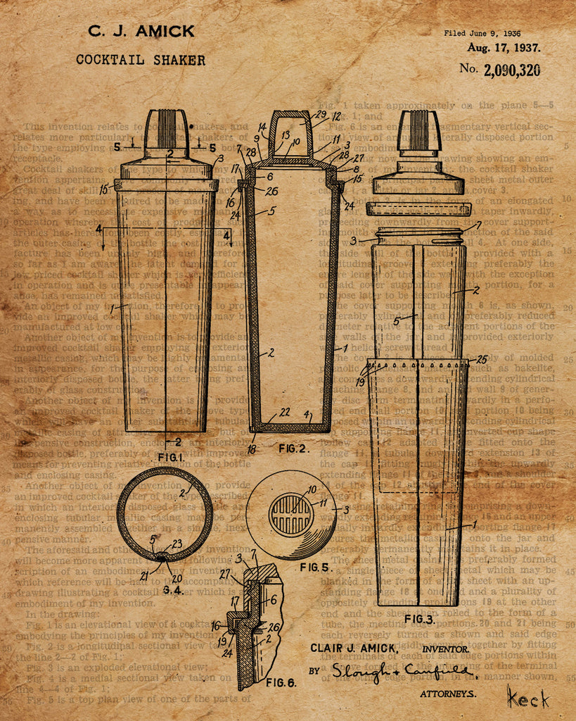 VINTAGE PATENT DRAWING of Cocktail Shaker Canvas Print