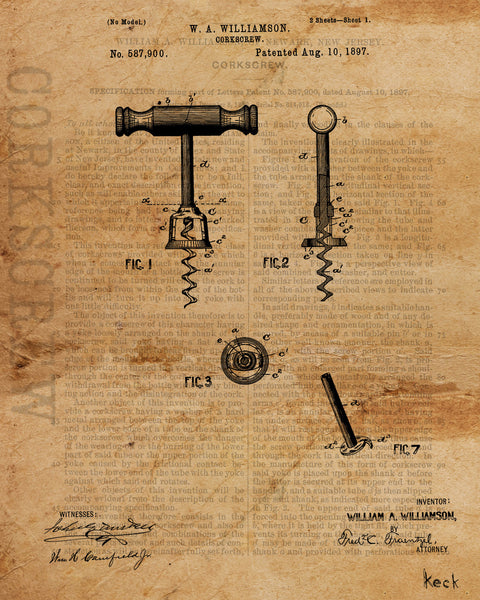 VINTAGE PATENT DRAWING of Corkscrew Canvas Print