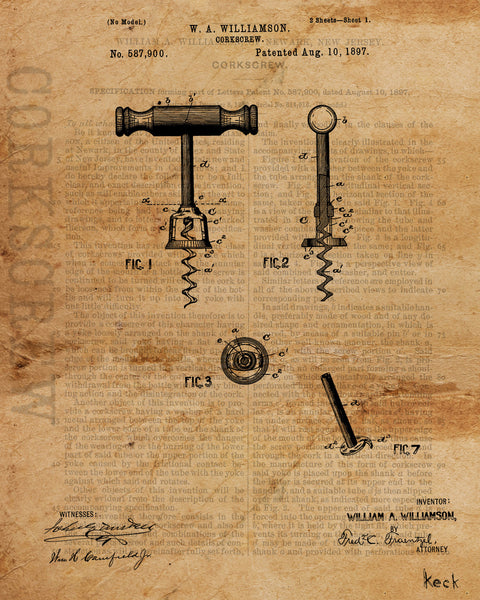 VINTAGE PATENT DRAWING of Corkscrew Paper Print