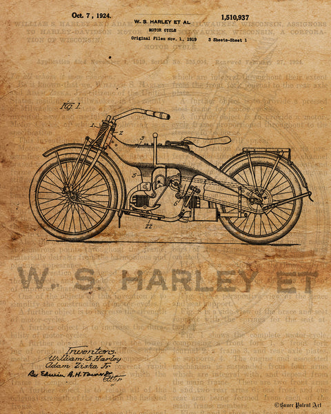 VINTAGE PATENT DRAWING of Harley Davidson Canvas Print