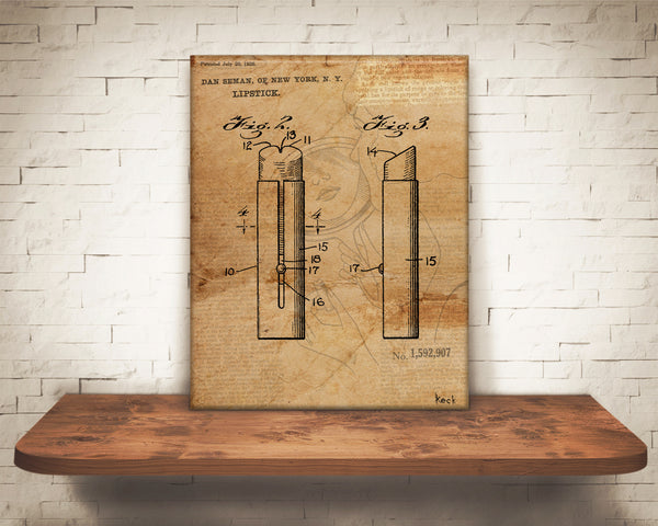 VINTAGE PATENT DRAWING of Lipstick Canvas Print