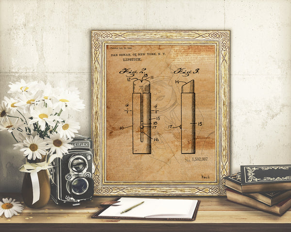 VINTAGE PATENT DRAWING of Lipstick Paper Print