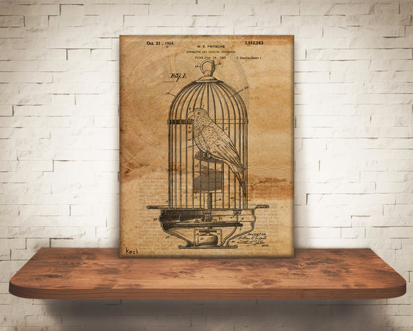 VINTAGE PATENT DRAWING of Mechanical Bird Canvas Print