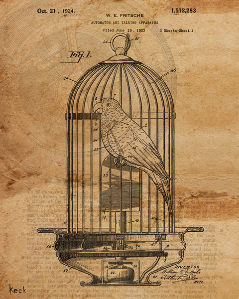 VINTAGE PATENT DRAWING of Mechanical Bird Paper Print