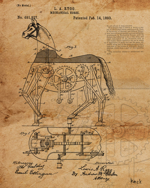 VINTAGE PATENT DRAWING of Mechanical Toy Horse Paper Print