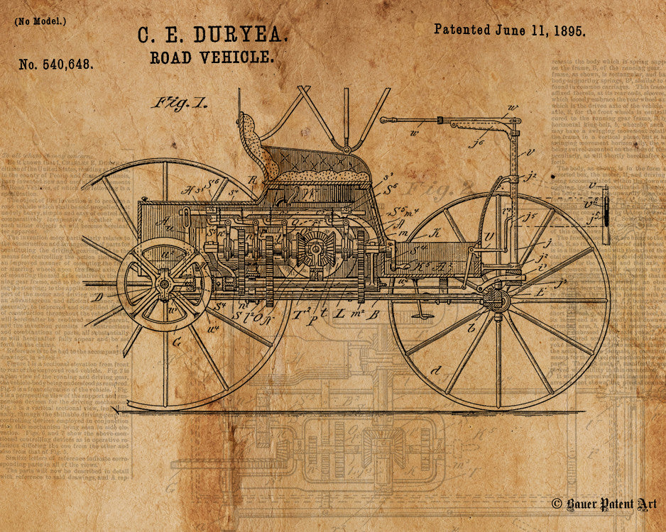 VINTAGE PATENT DRAWING of Road Vehicle Canvas Print