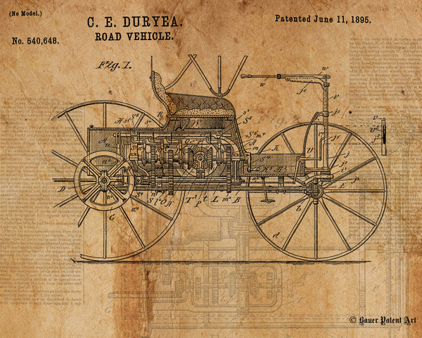 VINTAGE PATENT DRAWING of Road Vehicle Paper Print
