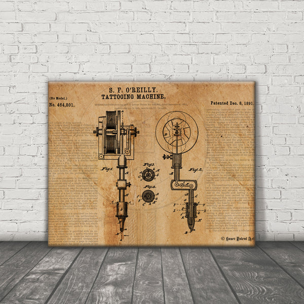 VINTAGE PATENT DRAWING of Tattoo Machine Canvas Print