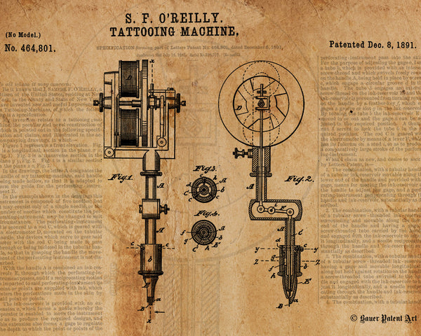 VINTAGE PATENT DRAWING of Tattoo Machine Paper Print