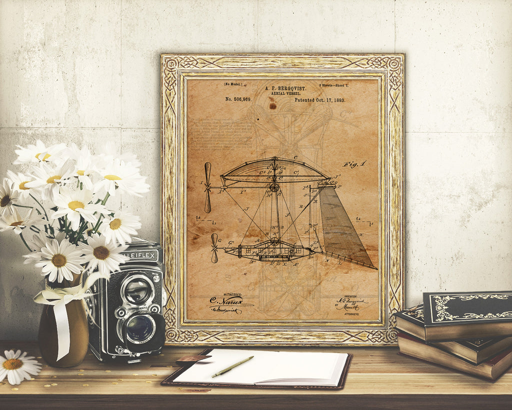 VINTAGE PATENT DRAWING of Aeriel Vessel Paper Print