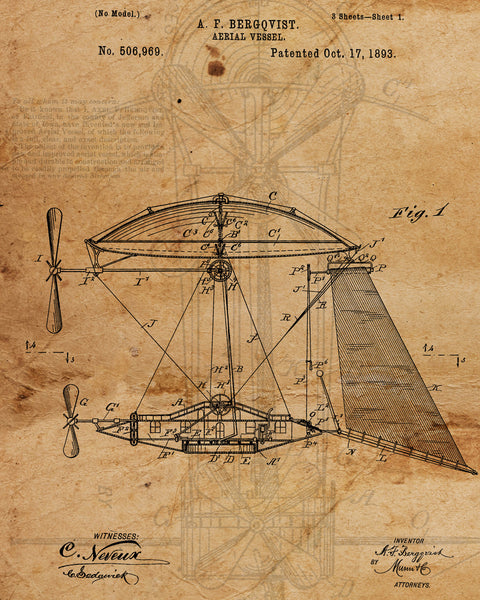 VINTAGE PATENT DRAWING of Aeriel Vessel Canvas Print