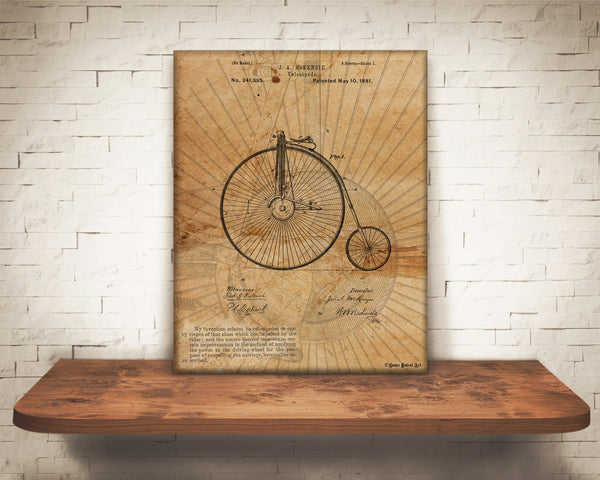 VINTAGE PATENT DRAWING of Velocipede Canvas Print