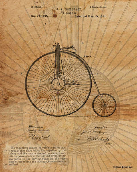 VINTAGE PATENT DRAWING of Velocipede Paper Print