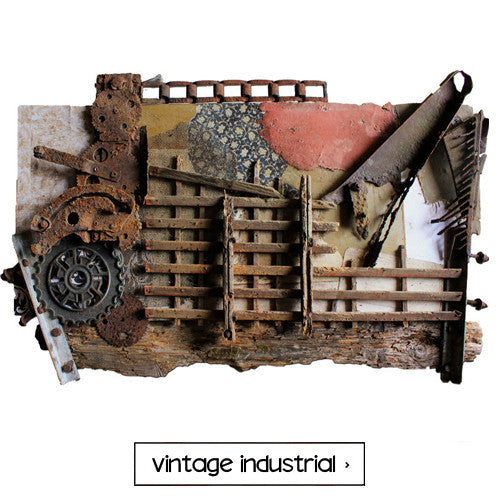 Michel Keck Vintage Industrial Wall Art Assemblages