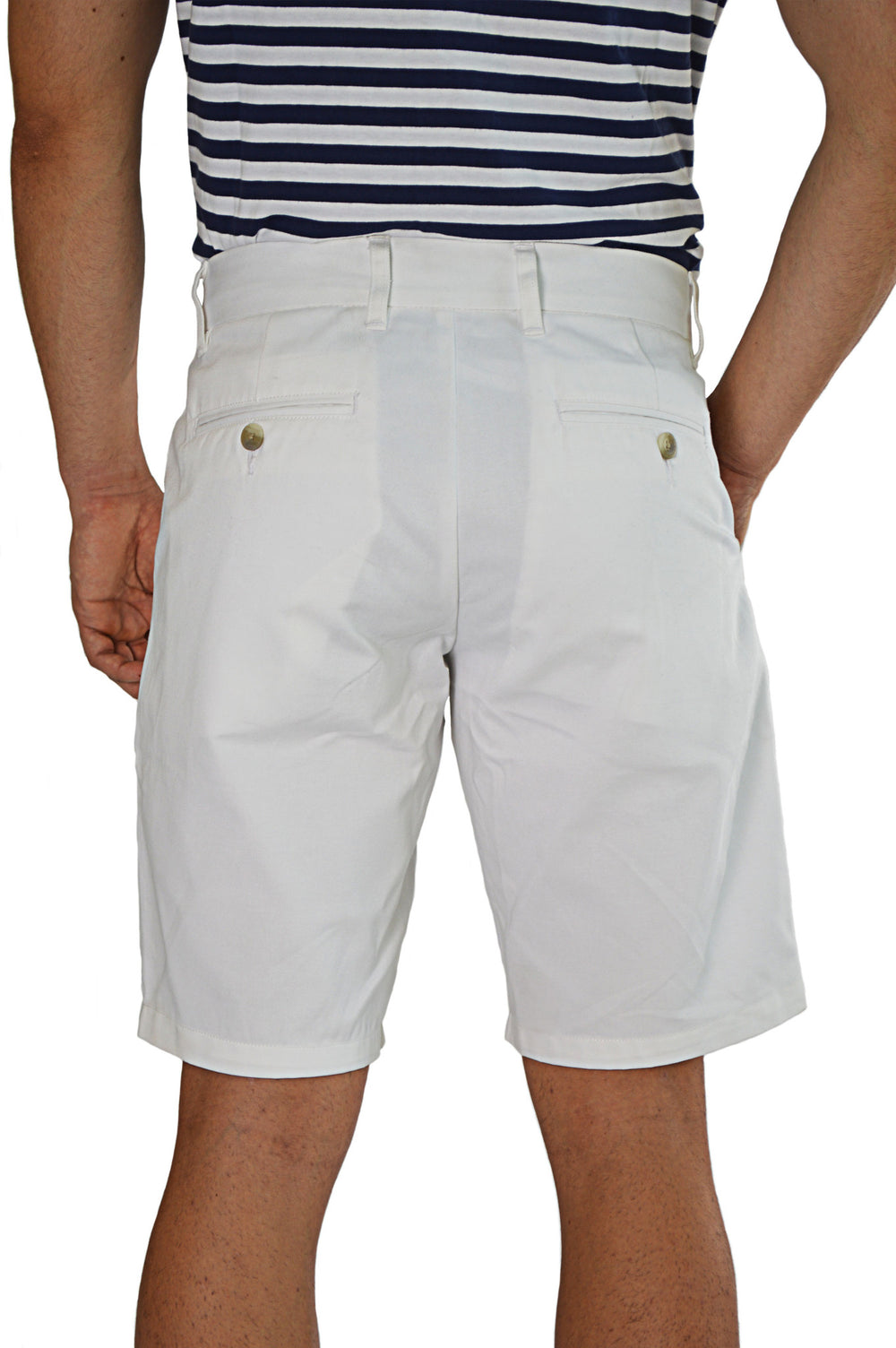 back view white tailored shorts