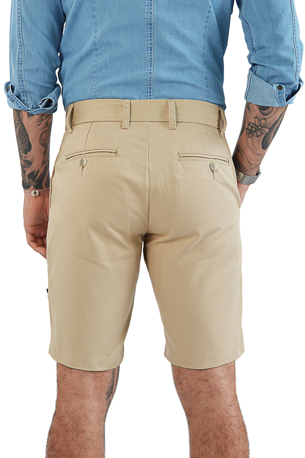 Back view light camel tailored short