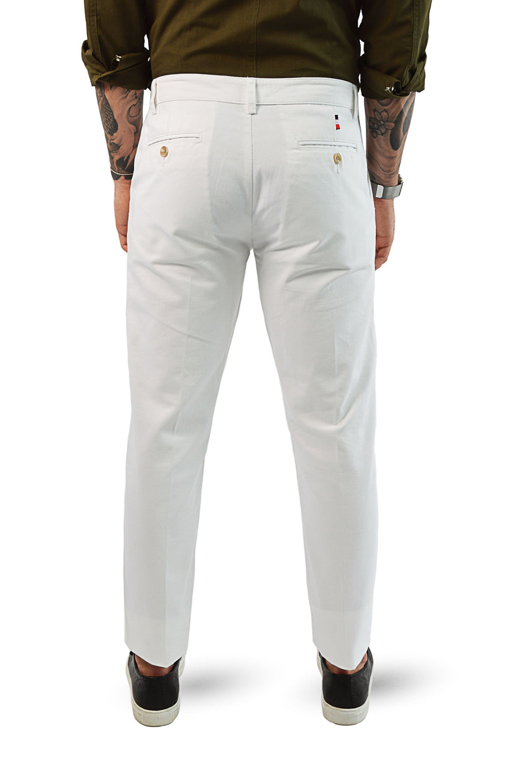 back view white chinos