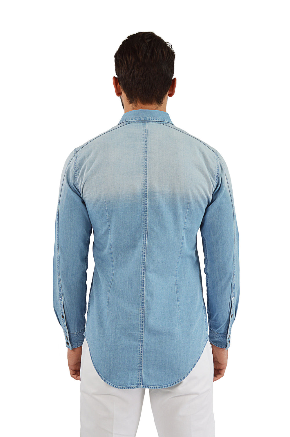 Back view light faded chambray shirt
