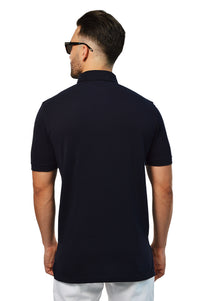Back view french navy tailored polo