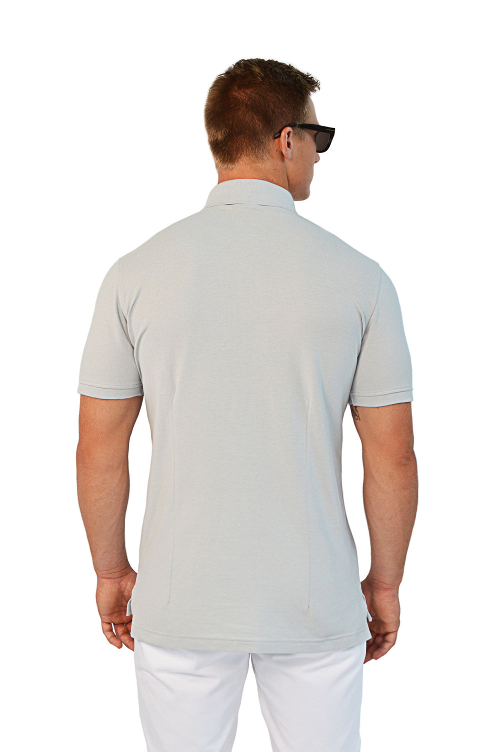back view grey tailored polo