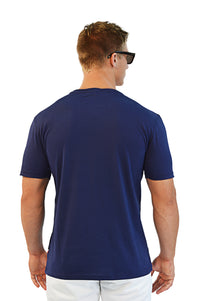 back view navy t-shirt