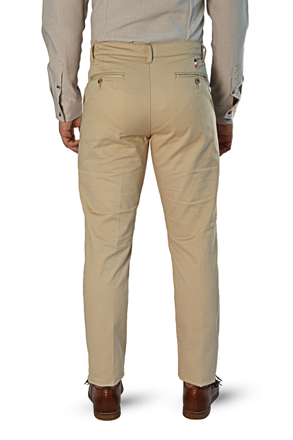 Back view light camel slim fit chinos