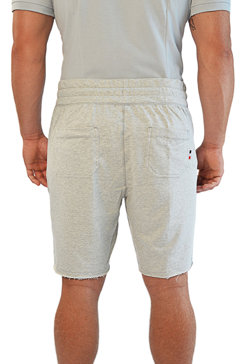 Back view french terry gym shorts