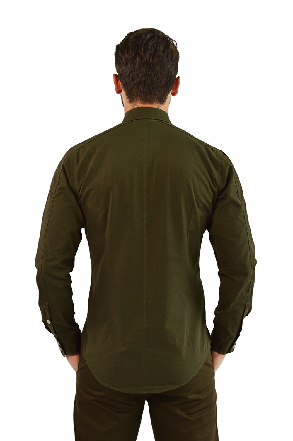 Back view military tailored shirt