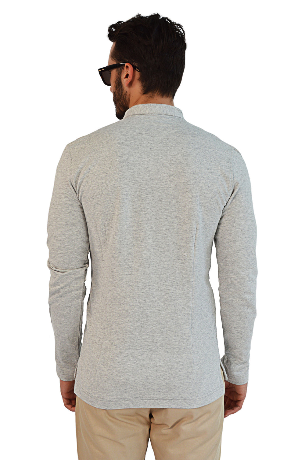 Back view french terry tailored henley